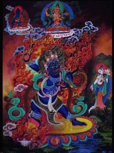 Vajrapani, Hand of Buddha, the very power of Enlightened Mind, surrounded by other members of the Vajra Buddha family: Akshobya Buddha and Manjushri.