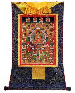 Buddha Weekly 35 Buddhas as a framed thangka Buddhism