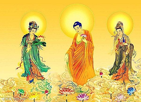 Buddha Weekly Buddha Amitabha and bodhisattvas with lotus Buddhism