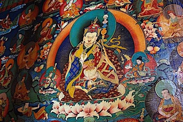 Buddha Weekly 20 Rongbuk Monastery Main Chapel Wall Painting Of Padmasambhava Guru Rinpoche Buddhism