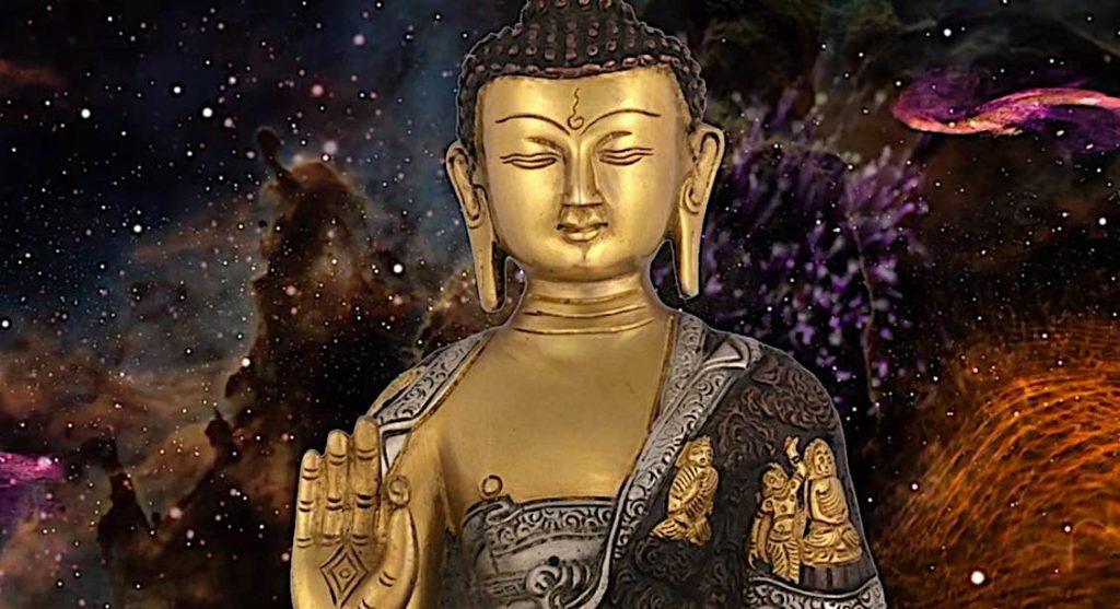 Buddha Weekly Medicine Buddha Sutra against starry sky Buddhism