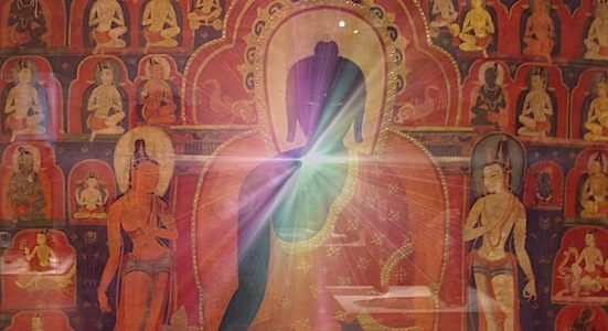 Buddha Weekly Medicine Buddha Sutra ancient temple art with glow Buddhism