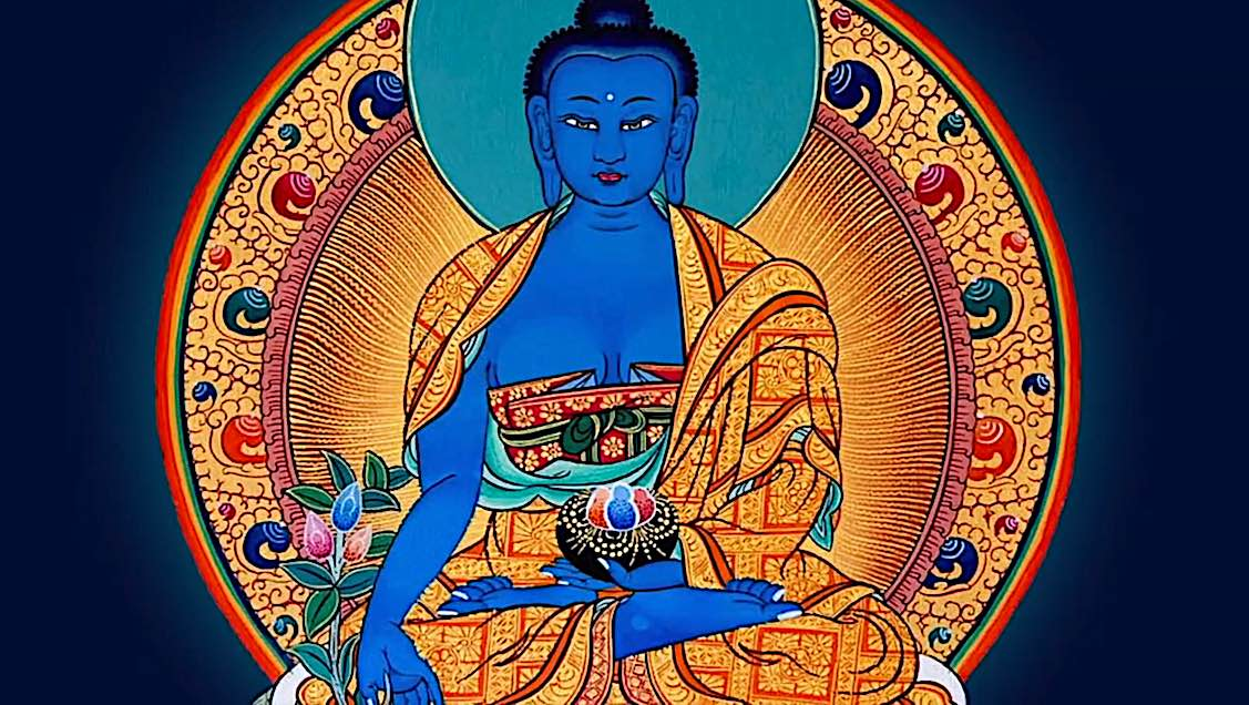 Buddha Weekly Medicine Buddha Sutra in lotus position with healing plants Buddhism