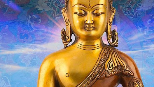 Buddha Weekly Medicine Buddha Sutra statue with glow background Buddhism