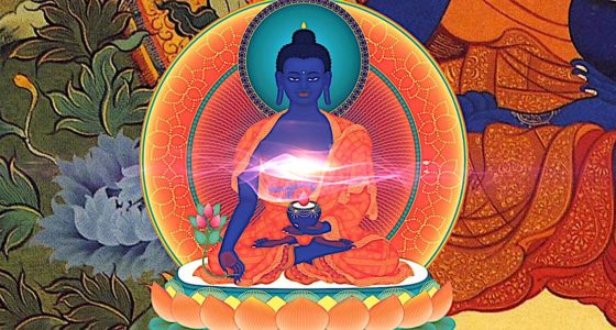Buddha Weekly Medicine Buddha Sutra tangkha with glow Buddhism
