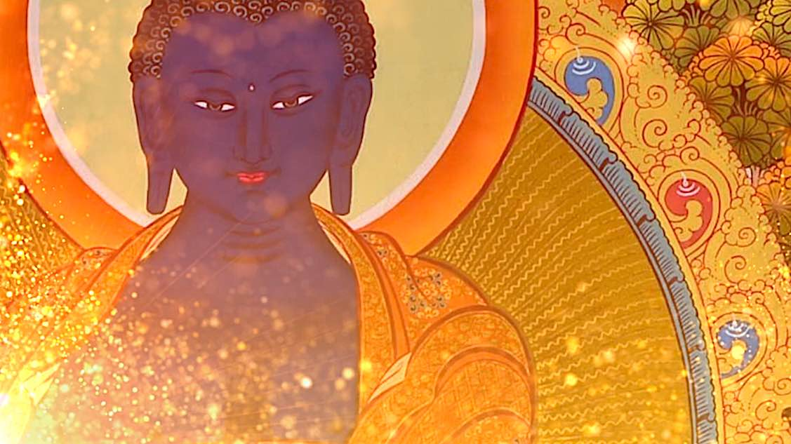 Buddha Weekly Medicine Buddha Sutra tangkha with golden glow Buddhism