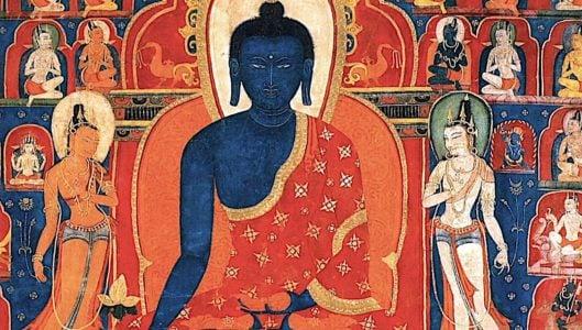 Buddha Weekly Medicine Buddha Sutra temple mural with Bodhisattvas Buddhism