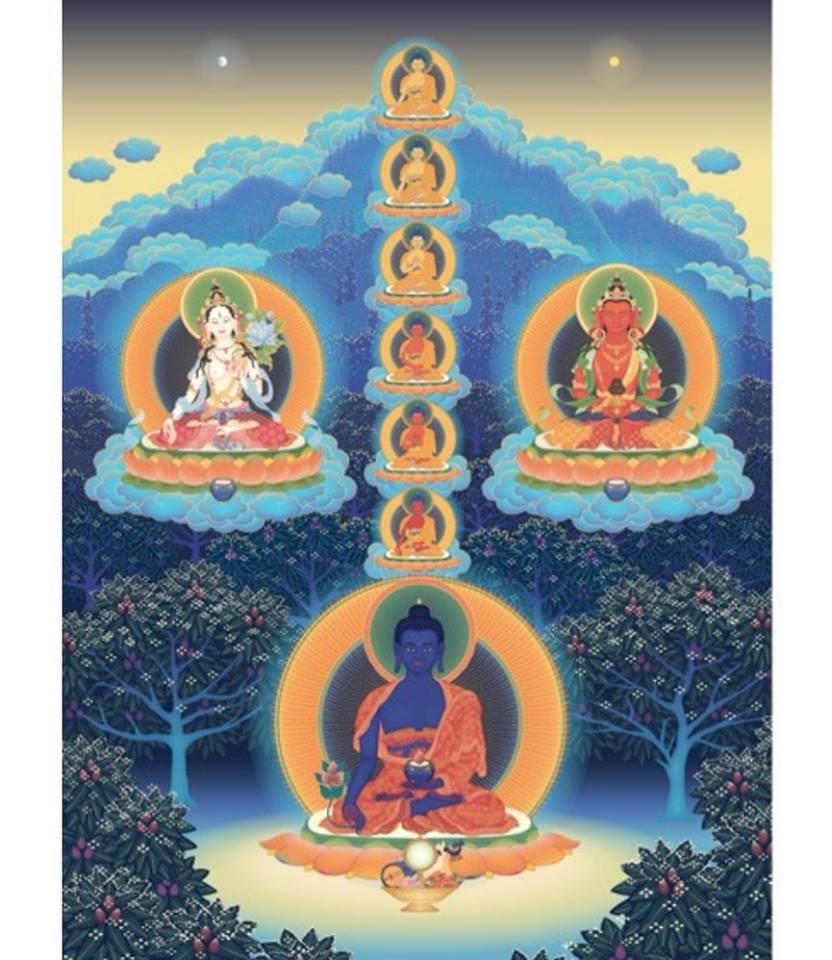 8 Medicine Buddhas Amitayus and White Tara