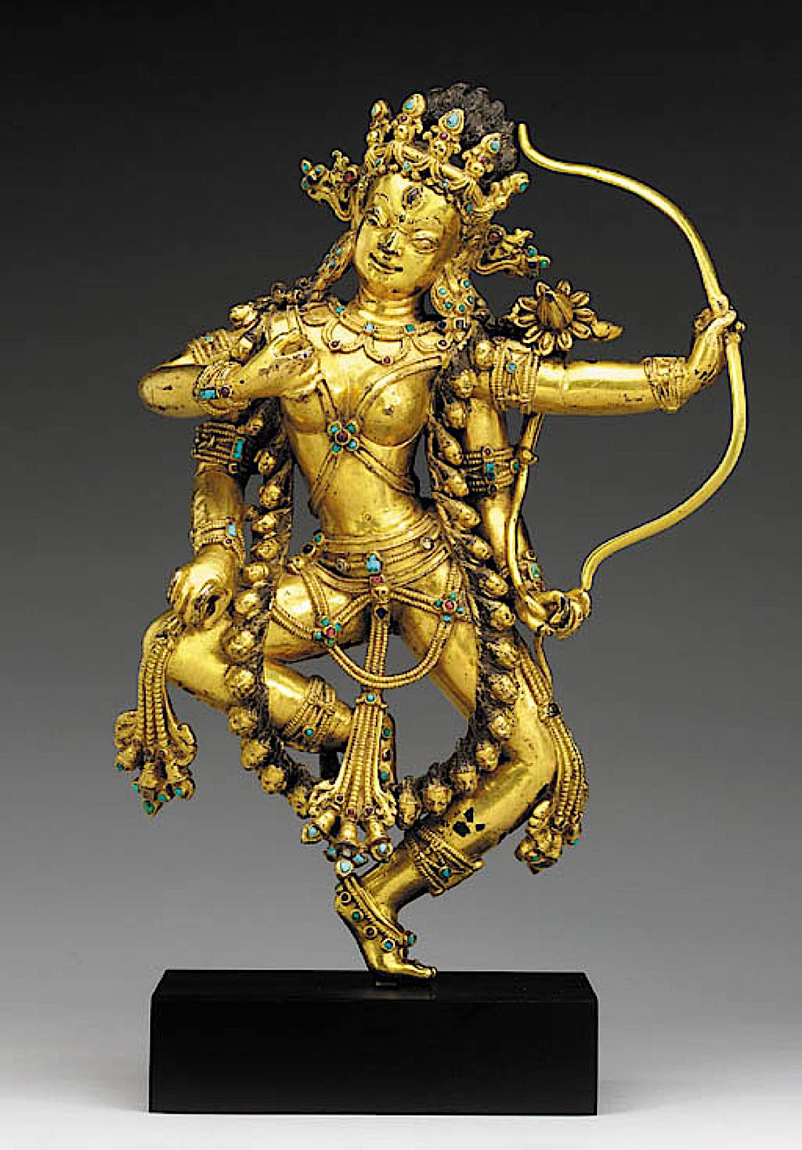 Buddha Weekly 16th c tibet kurukulla gilt c a stone inlay 317 cm bow arrow 4 arms christies Buddhism