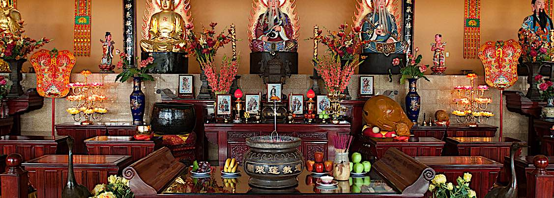 Buddha Weekly A Shrine at Fung Loy Taoist Tao Chi International Centre and Temple Buddha Confusius and Lao Tzi together Buddhism