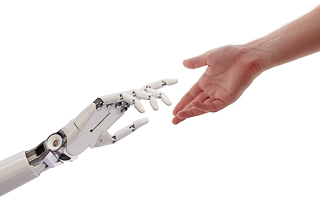 Buddha Weekly Ai robot and hand reaching out god and man metaphor Buddhism