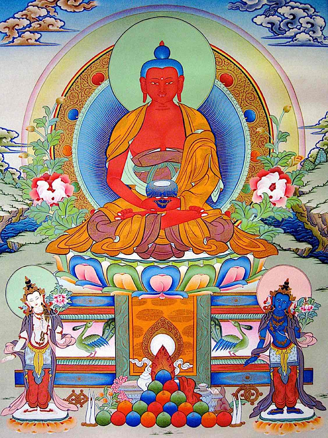 Buddha Weekly Amitabha with Avaolokiteshvara and Vajrapani Buddhism