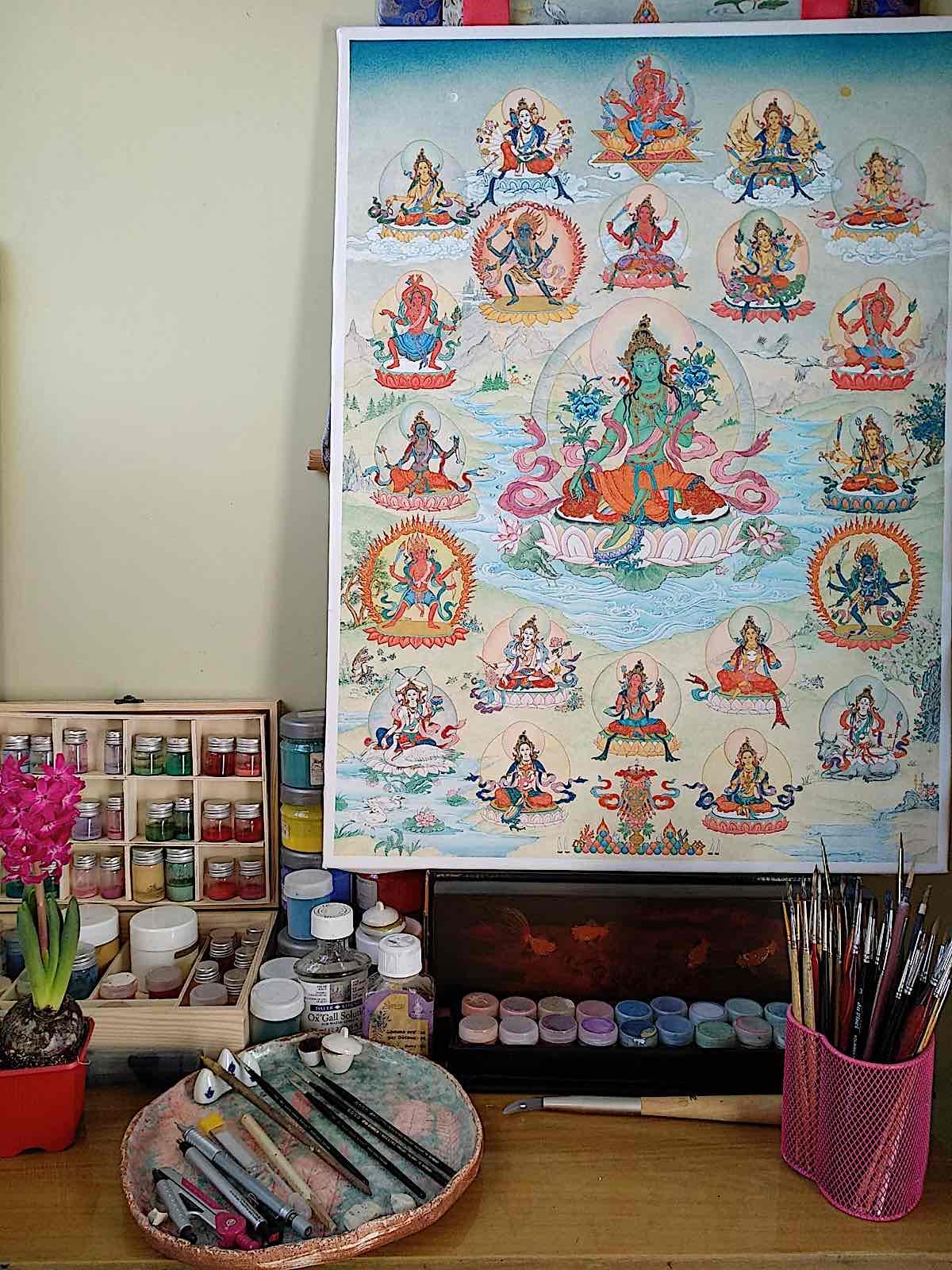 Buddha Weekly Angeli Lhadripa Shkonda workplace for painting thangkas 21 Taras featured Buddhism