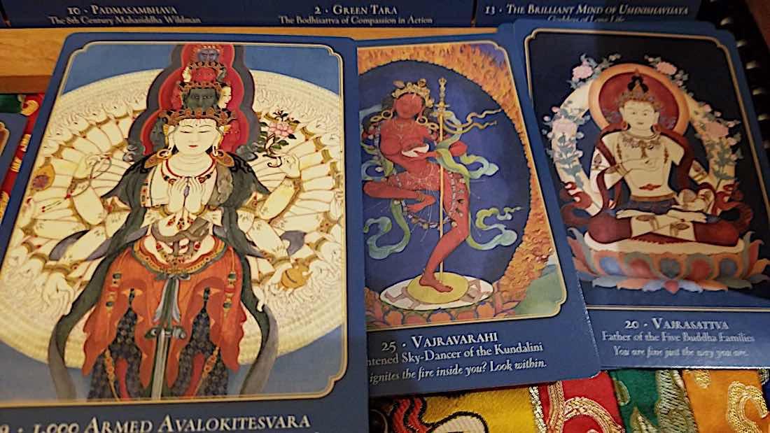 Buddha Weekly Avalokiteshvara Vajravarahi and Vajrasattva from Laura Santi Oracle Deck Buddhism