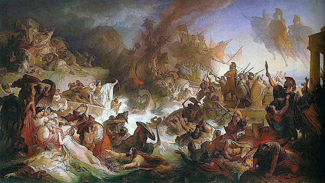 Buddha Weekly Battle of Salamis by Wilhelm von Kaulbach Buddhism