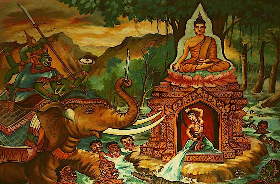 Buddha Weekly Battle with Mara summoning Phra Mae Thorani to aid him Buddhism