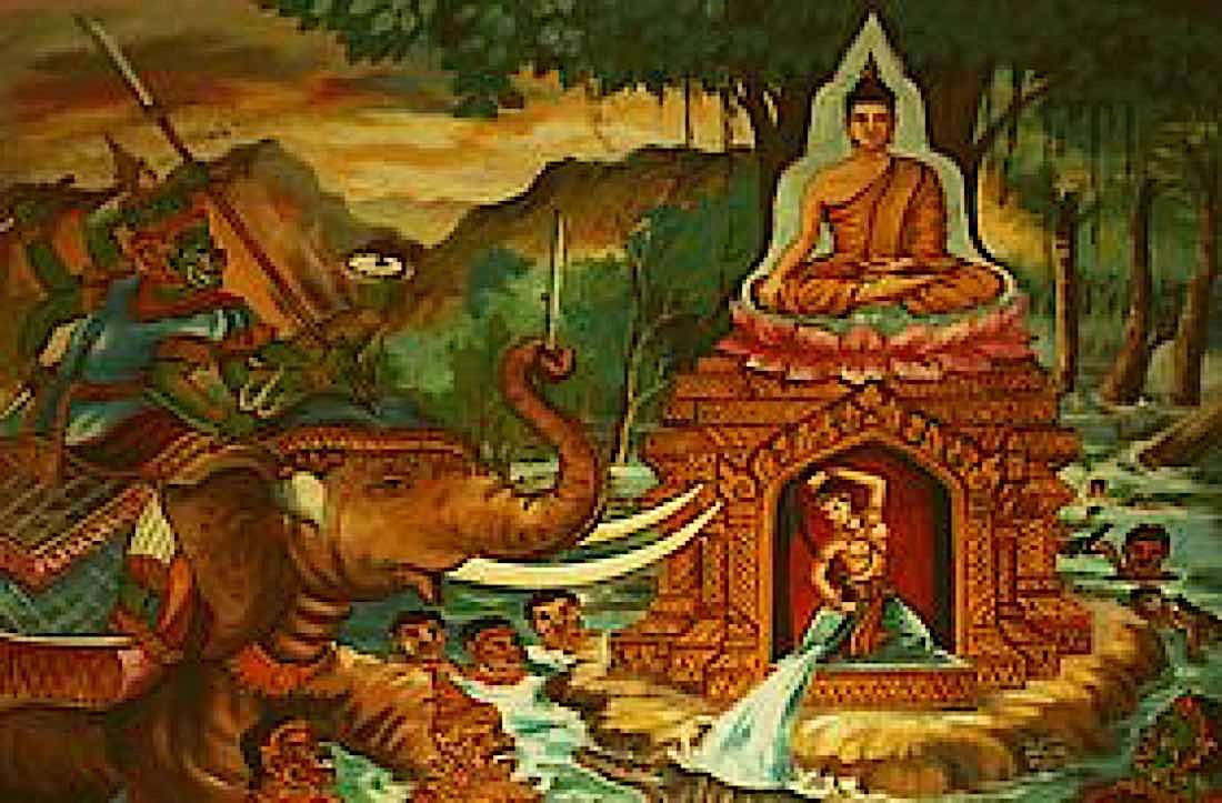 Buddha Weekly Battle with Mara with Prithvi creating the flood Buddhism
