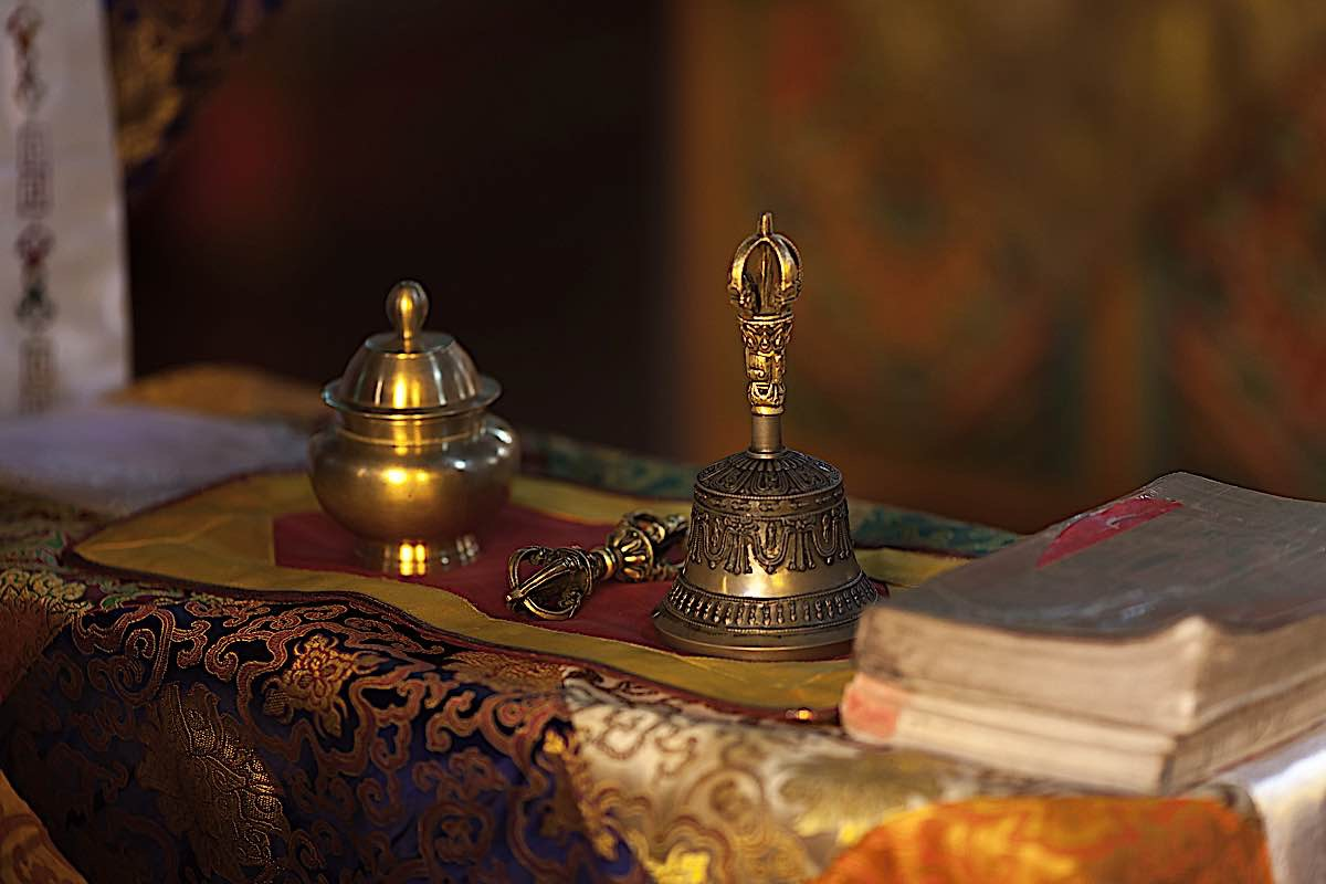Buddha Weekly Bell and Vajra in Buddhist temple Buddhism