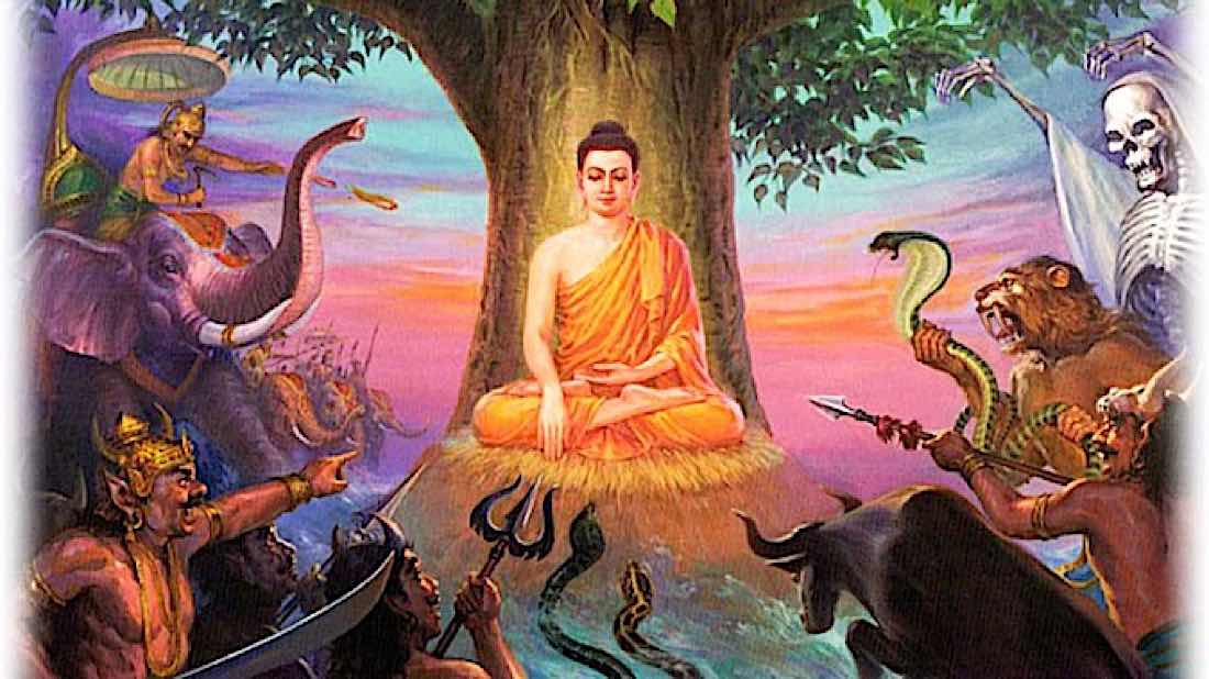 Buddha Weekly Buddha Touches the earth as a witness surrounded by the armies of Mara Buddhism