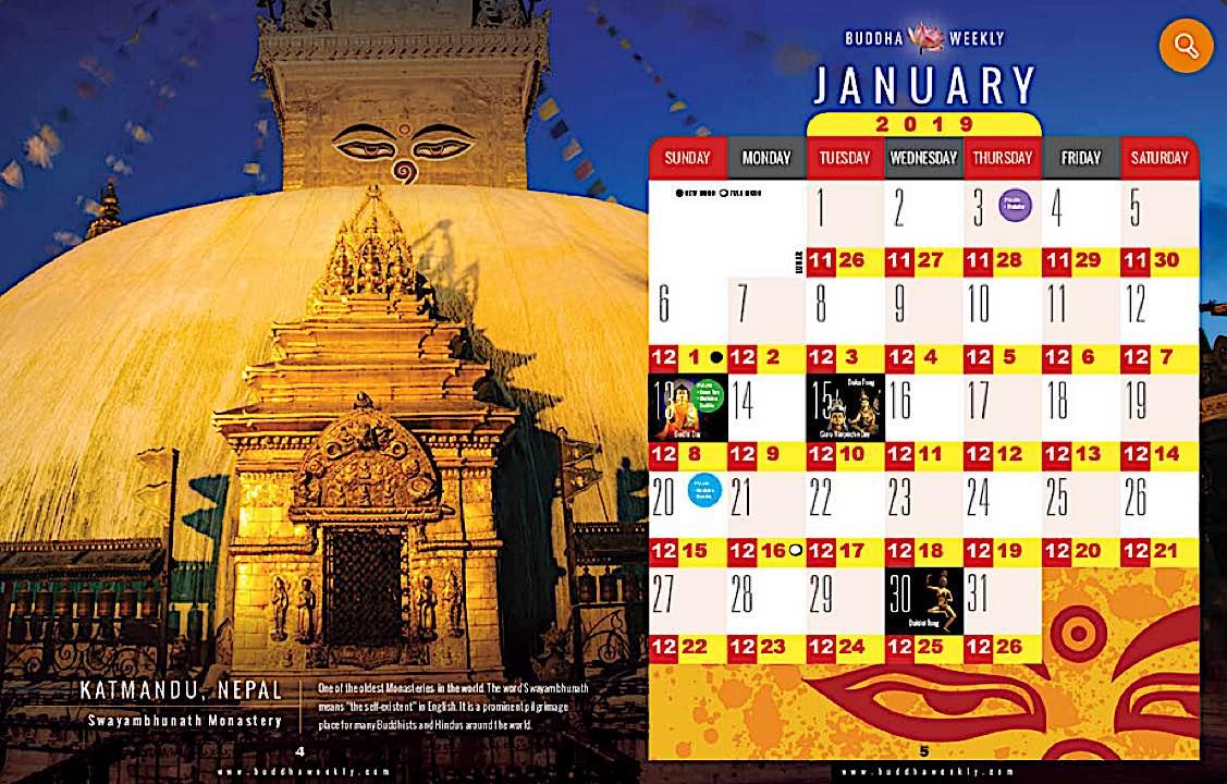 Buddha Weekly Buddha Weekly 2019 Practice and Tsog date Calendar Free PDF Buddhism Around the World Buddhism