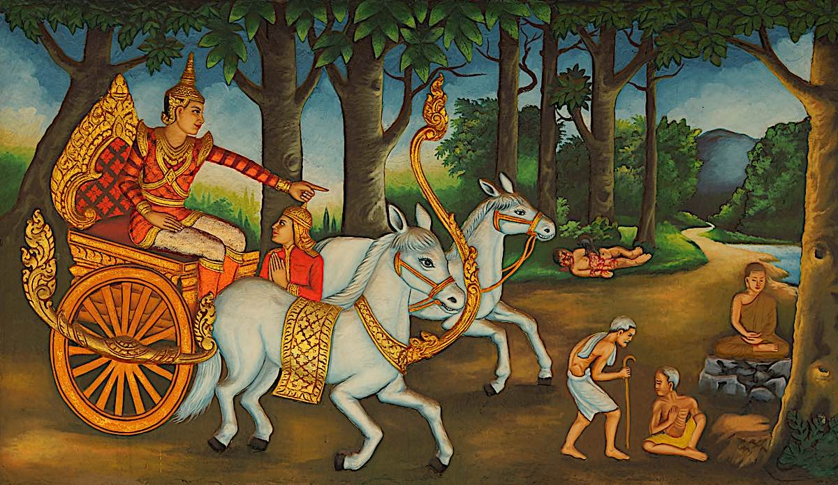 Prince Siddartha encounters the four sites, one of which was death.