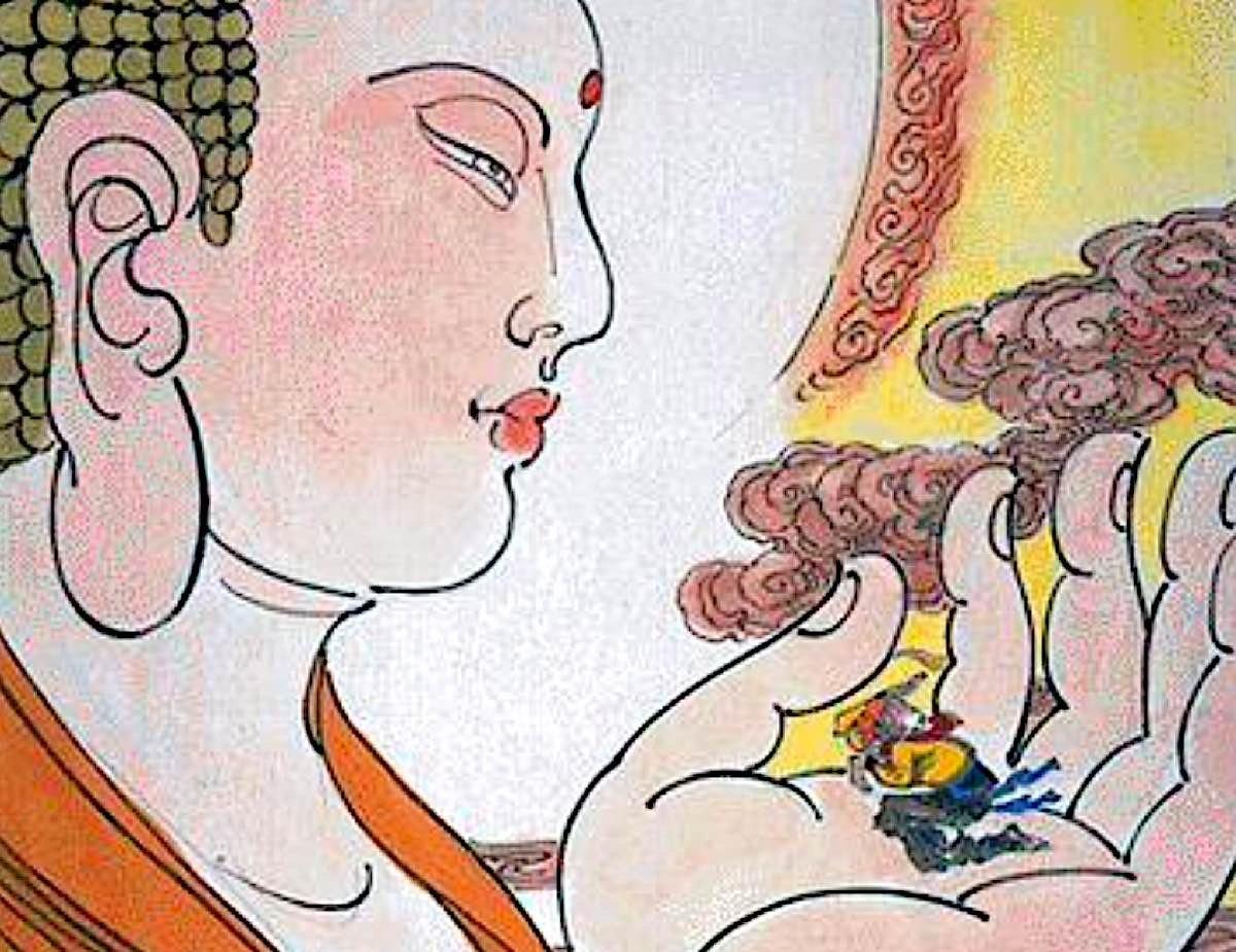 Buddha Weekly Buddha hand holds the Monkey King Buddhism