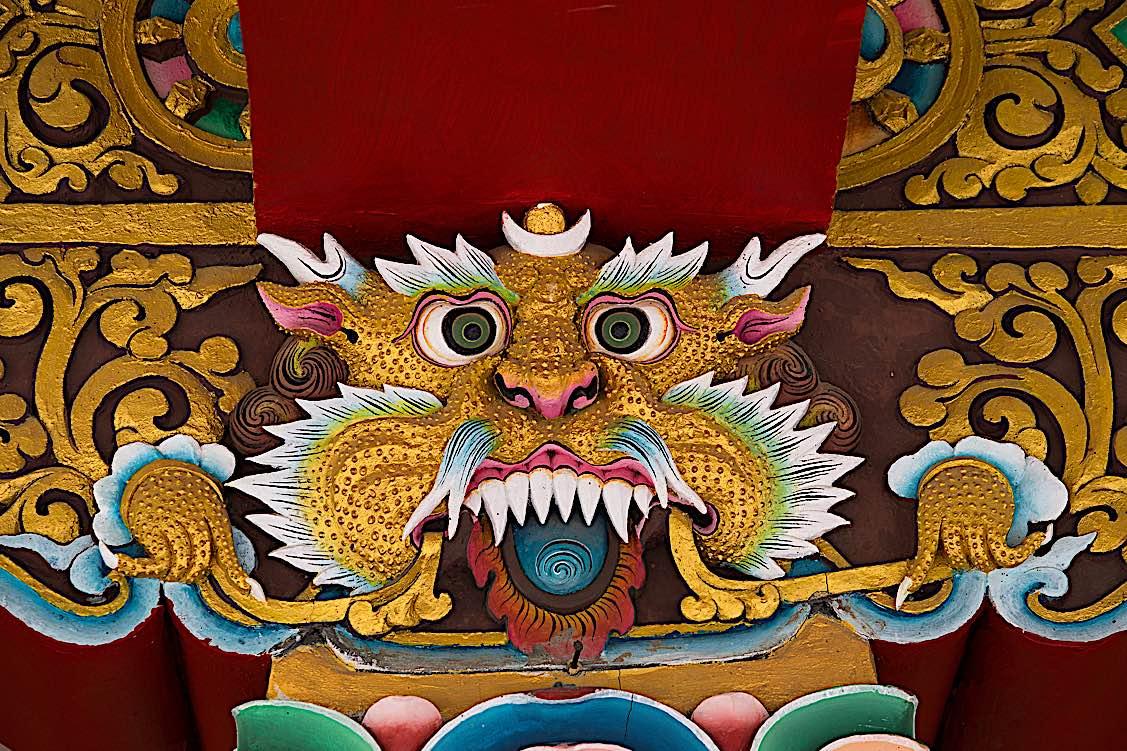 Buddha Weekly Buddhist lion face in monastery Ladakh India Buddhism