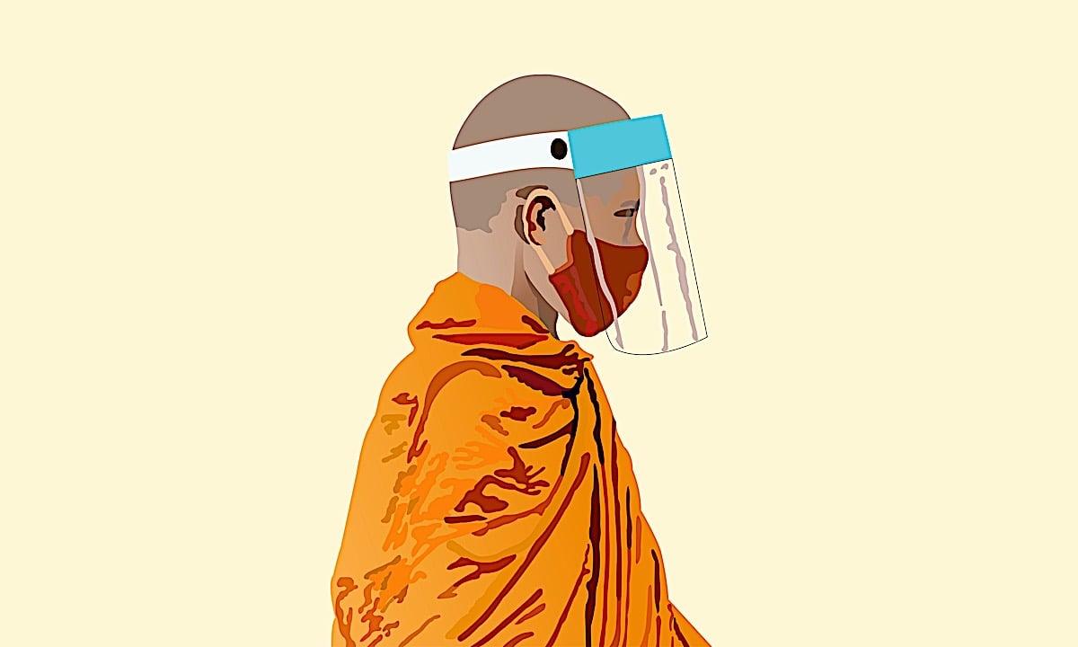 Buddha Weekly Buddhist monk with facemask dreamstime xxl 181599819 Buddhism