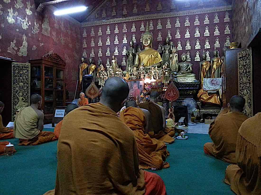 Buddha Weekly Chanting and meditating with monks Laos Buddhism
