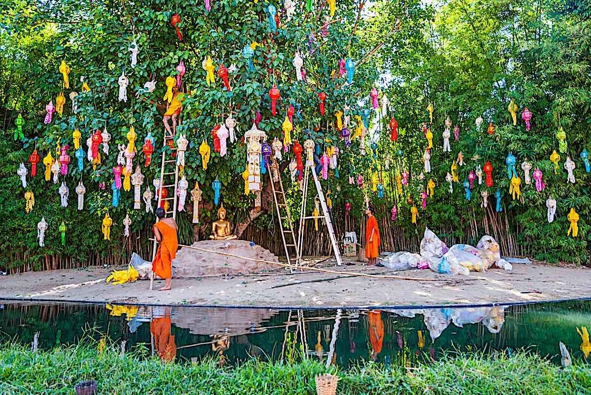 Buddha Weekly Chiang Mai Thailand Buddhist monk preparing space temple Loi krathong festival Buddhism