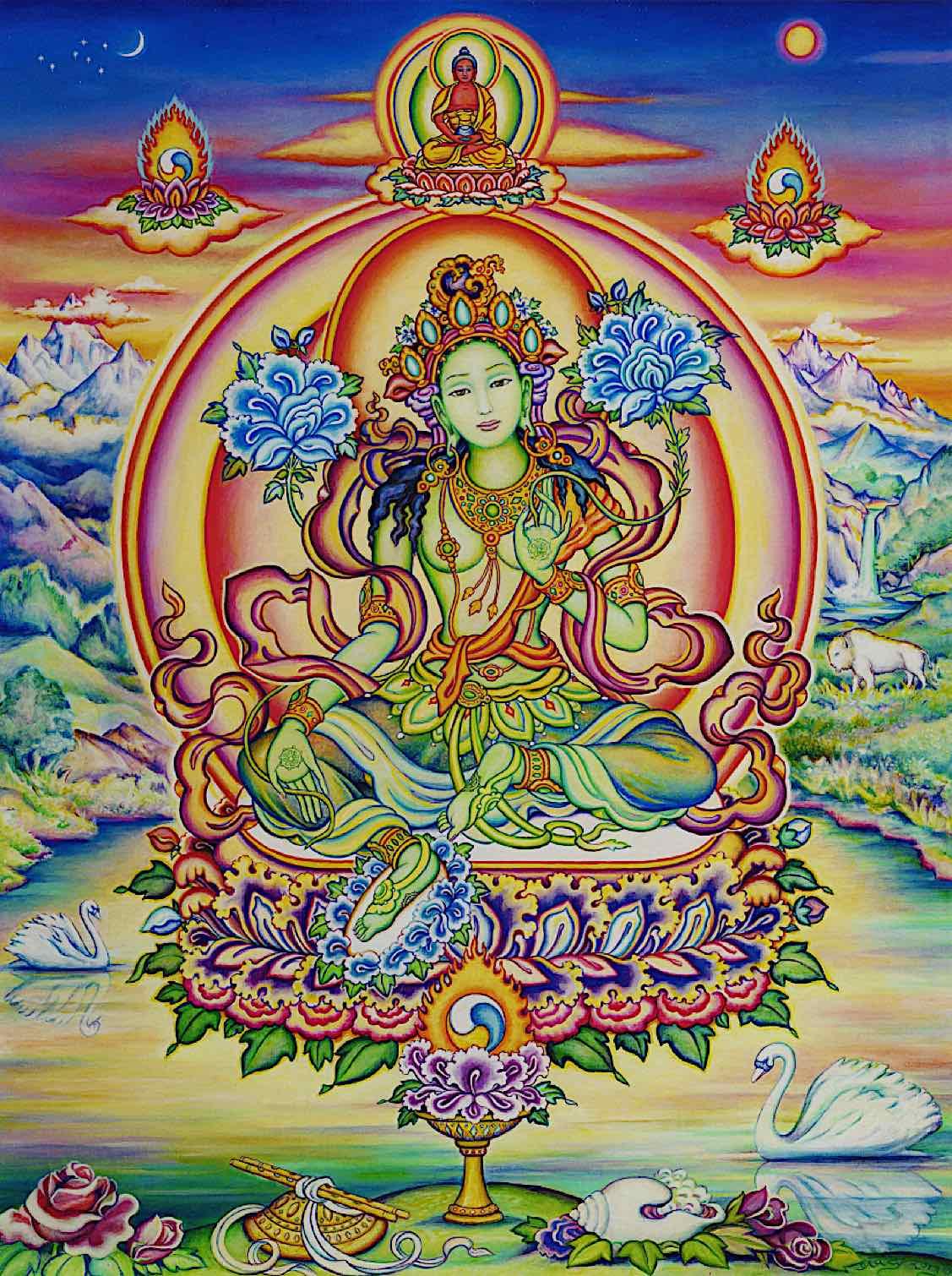 Buddha Weekly Chittamani Tara tangkha with Amitabha Buddha on her head Buddhism