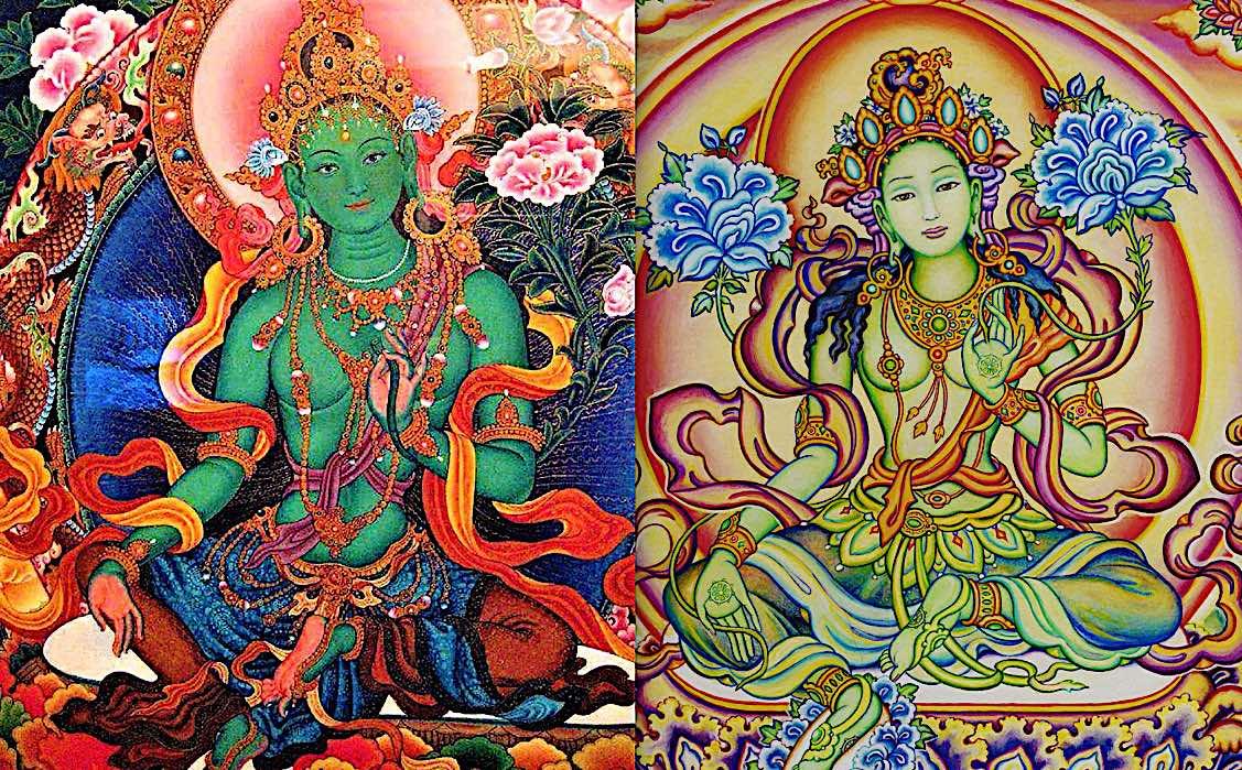 Buddha Weekly Comparing Green Tara left and Chittamani Tara right with two uptala flowers Buddhism