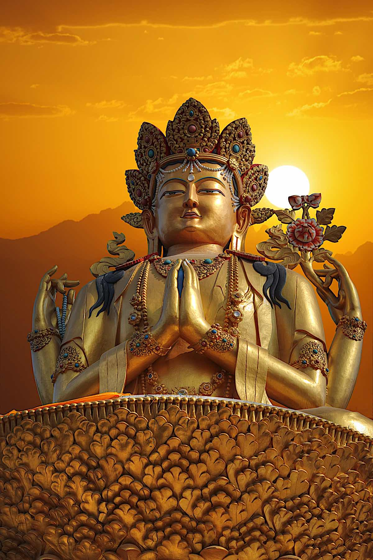 Buddha Weekly Cour Armed Chenrezig Statue stands in Kathmandu Nepal with sunset dreamstime xxl 87955847 Buddhism