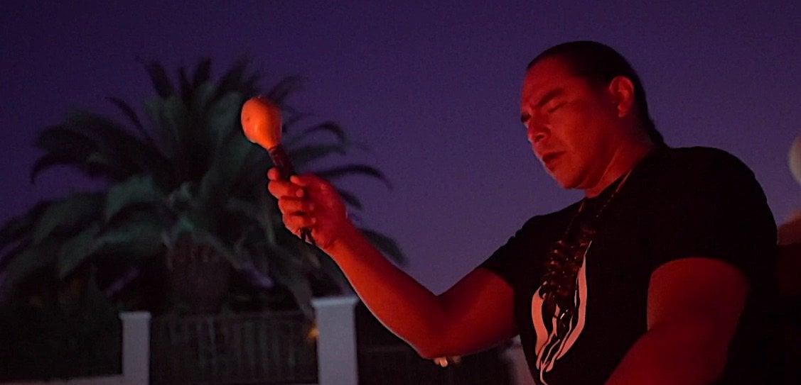 Buddha Weekly Cree Medicine Man Shaman Sean Walking Bear with Rattle doing ceremony Buddhism