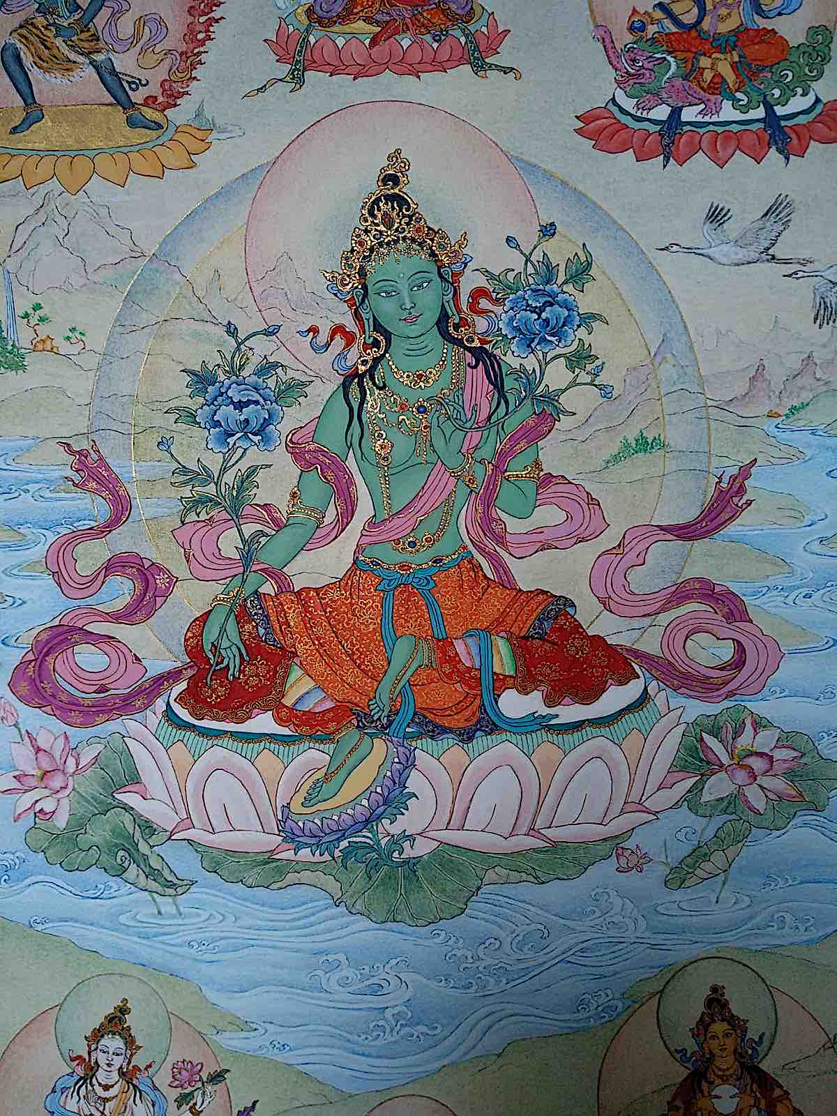 Buddha Weekly Detail of Chittamani Tara on 21 Taras thangka by Angeli Lhadripa Shknoda Buddhism
