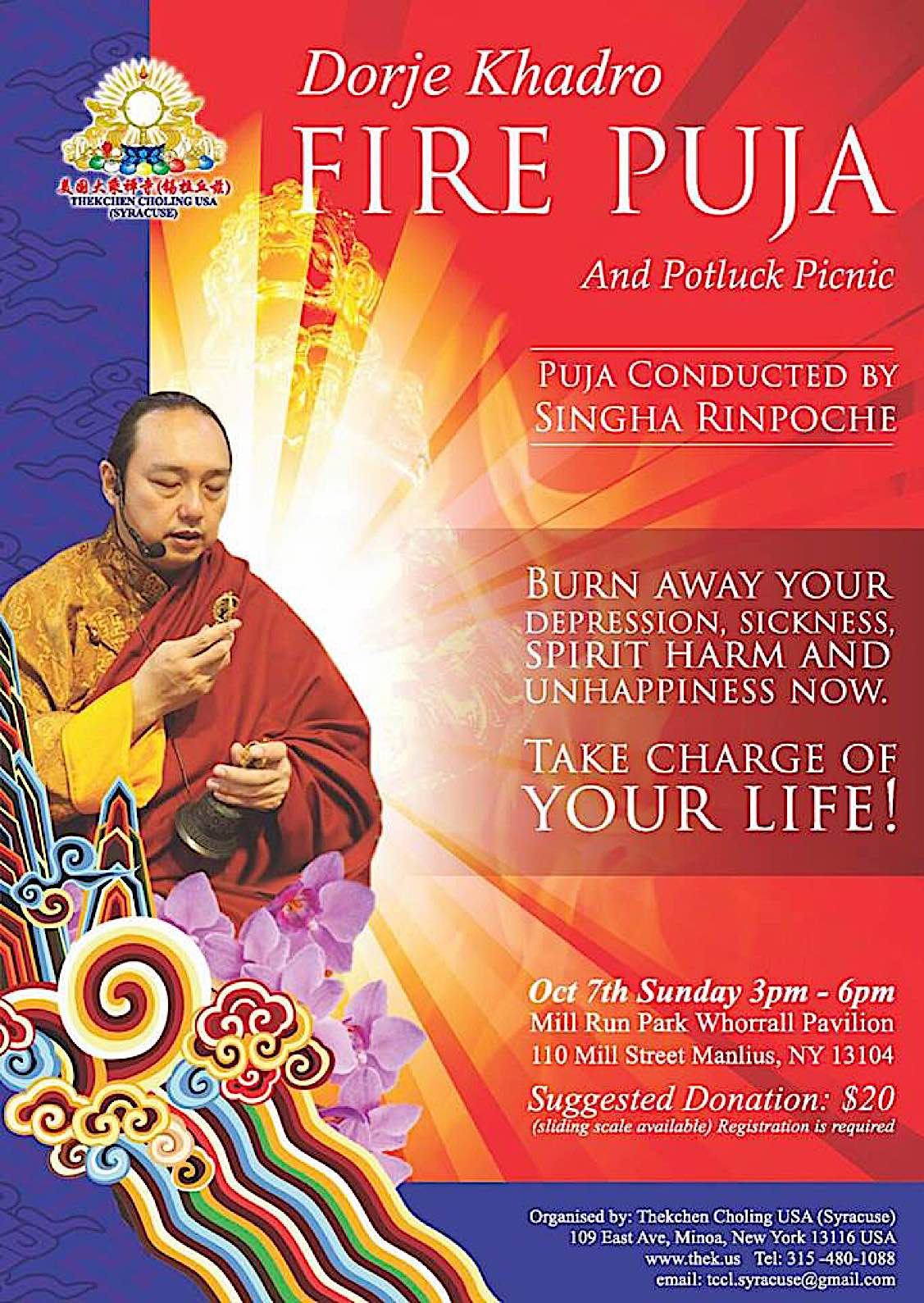 Buddha Weekly Dorje Khadro Fire Puja event with Singha Rinpoche Buddhism
