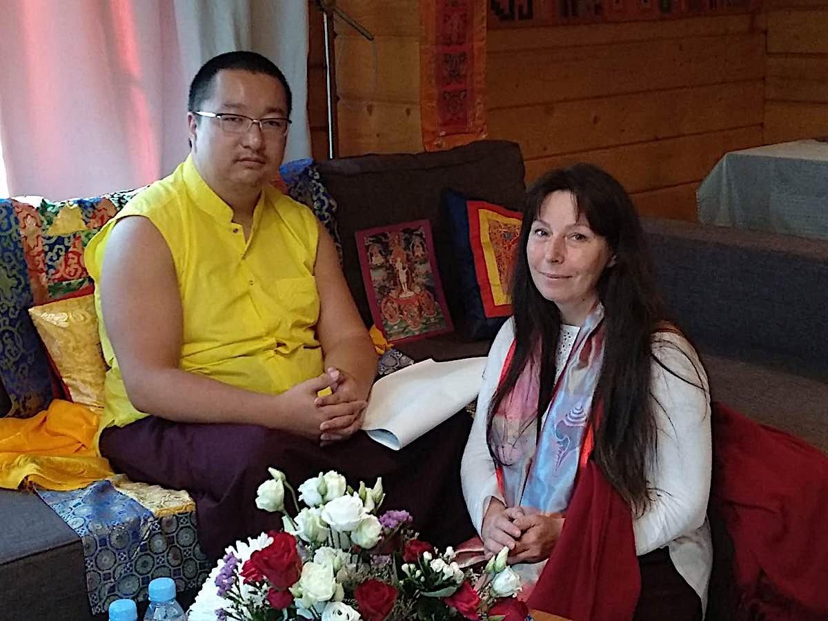 Buddha Weekly Dudjom Sangye Pema Shepa Rinpoche with artist Angeli Shkonda Buddhism