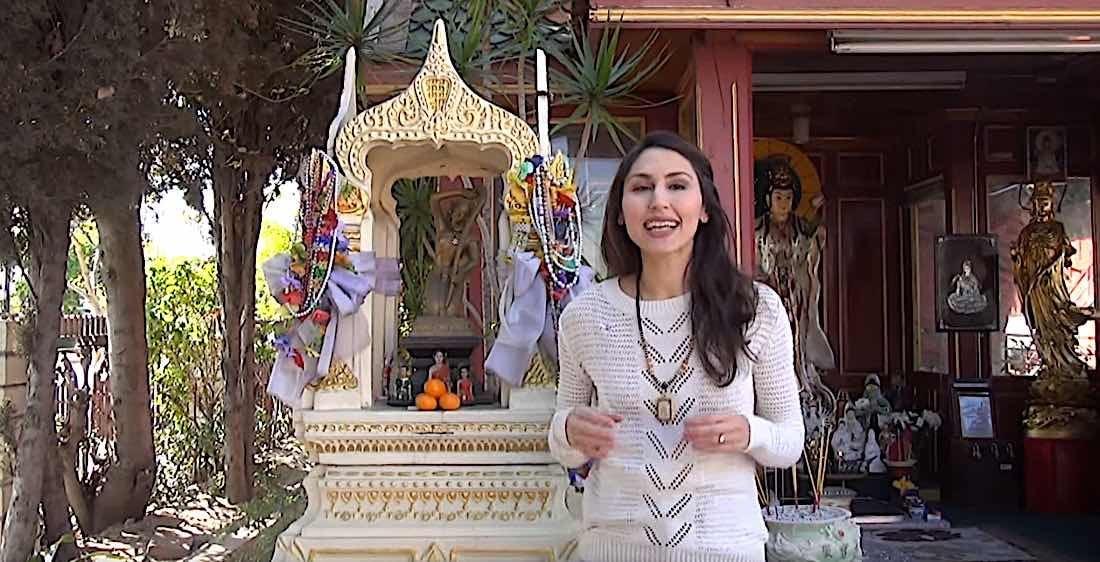 Buddha Weekly Earth Goddess Phra Mae Thorani shrine at Wat Tai temple in Los Angeles Buddhism