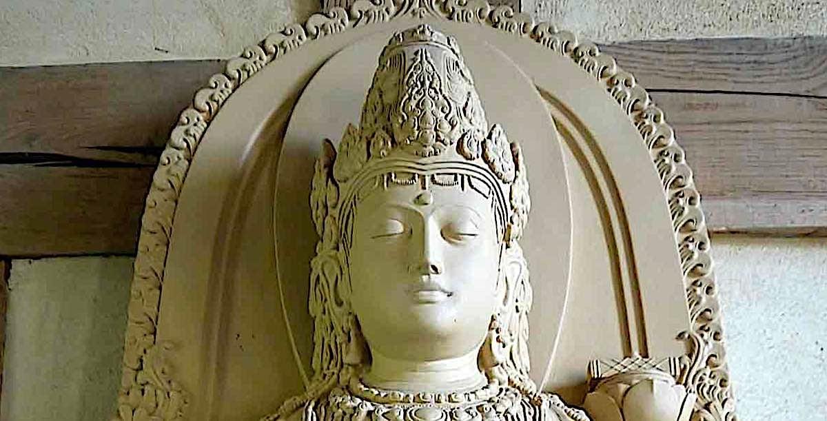Buddha Weekly Face detail from Prajnaparamita statue Buddhism