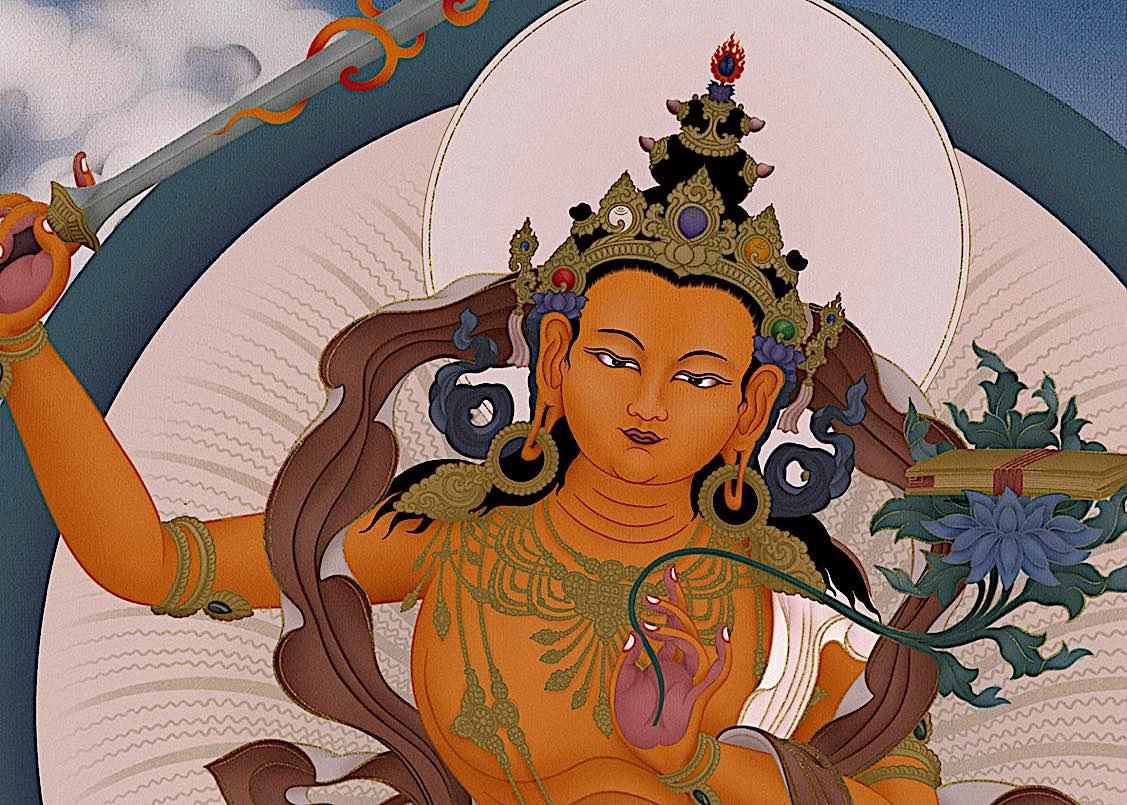 Buddha Weekly Feature image Manjushri by Ben Christian magnificent tangkha Buddhism