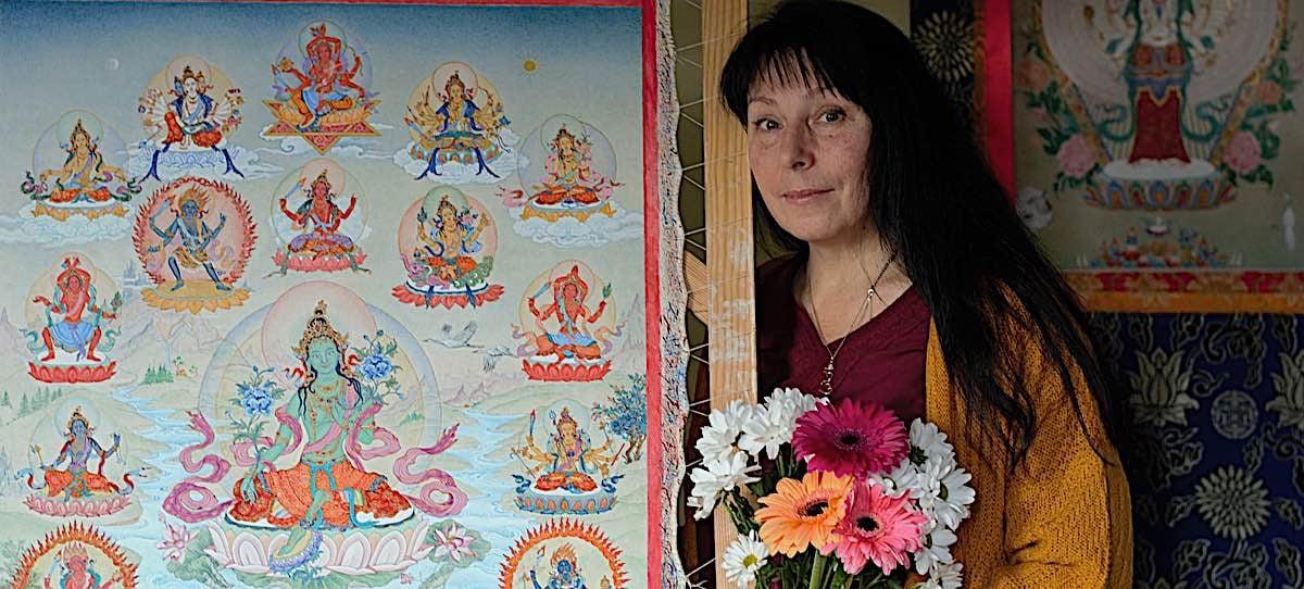 Buddha Weekly Feature image of artist Angeli Lhadripa Shkonda with her 21 Taras thangka Buddhism