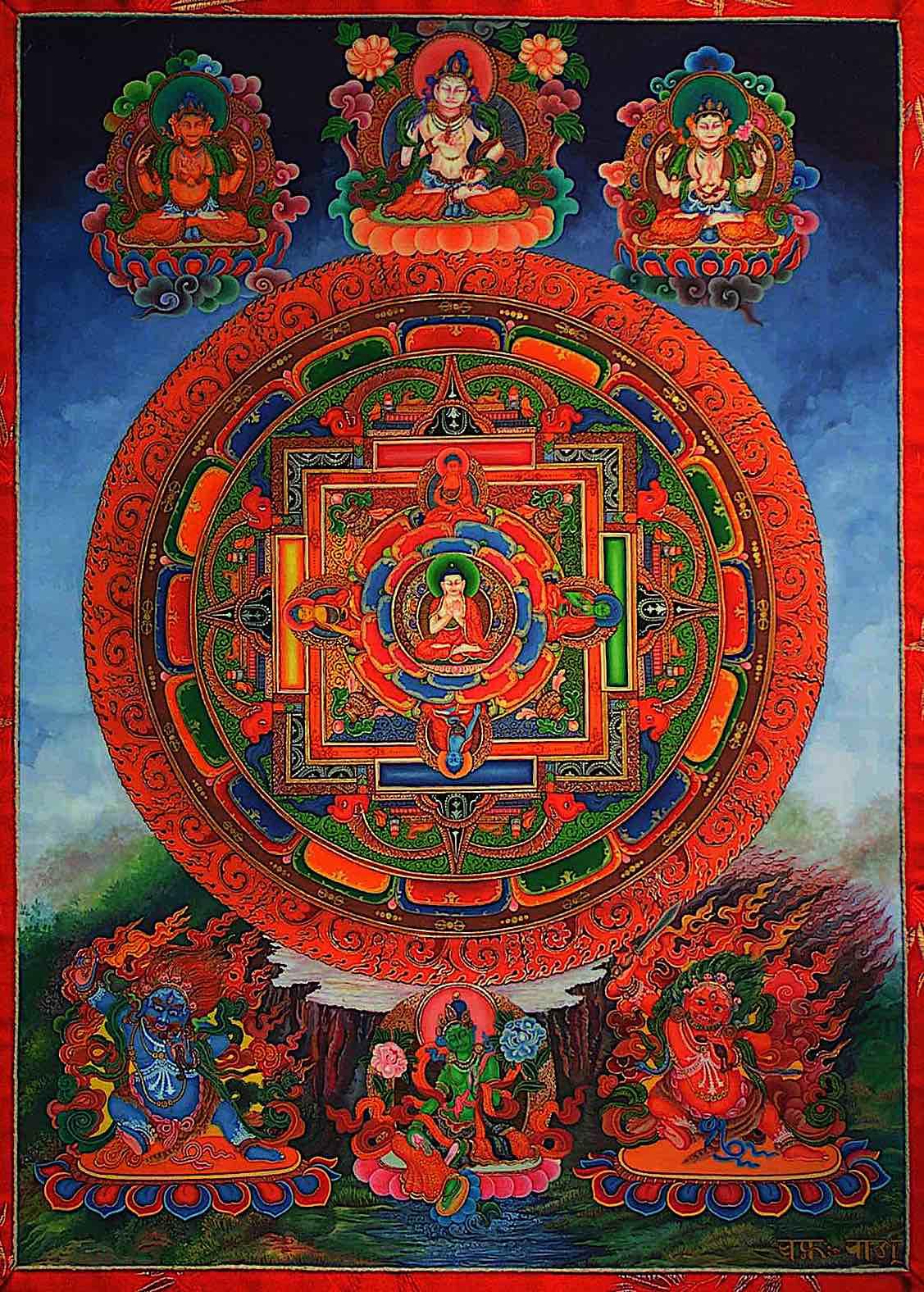 Buddha Weekly Five Dhyani Buddhas Mandala with Tara Beautiful Buddhism