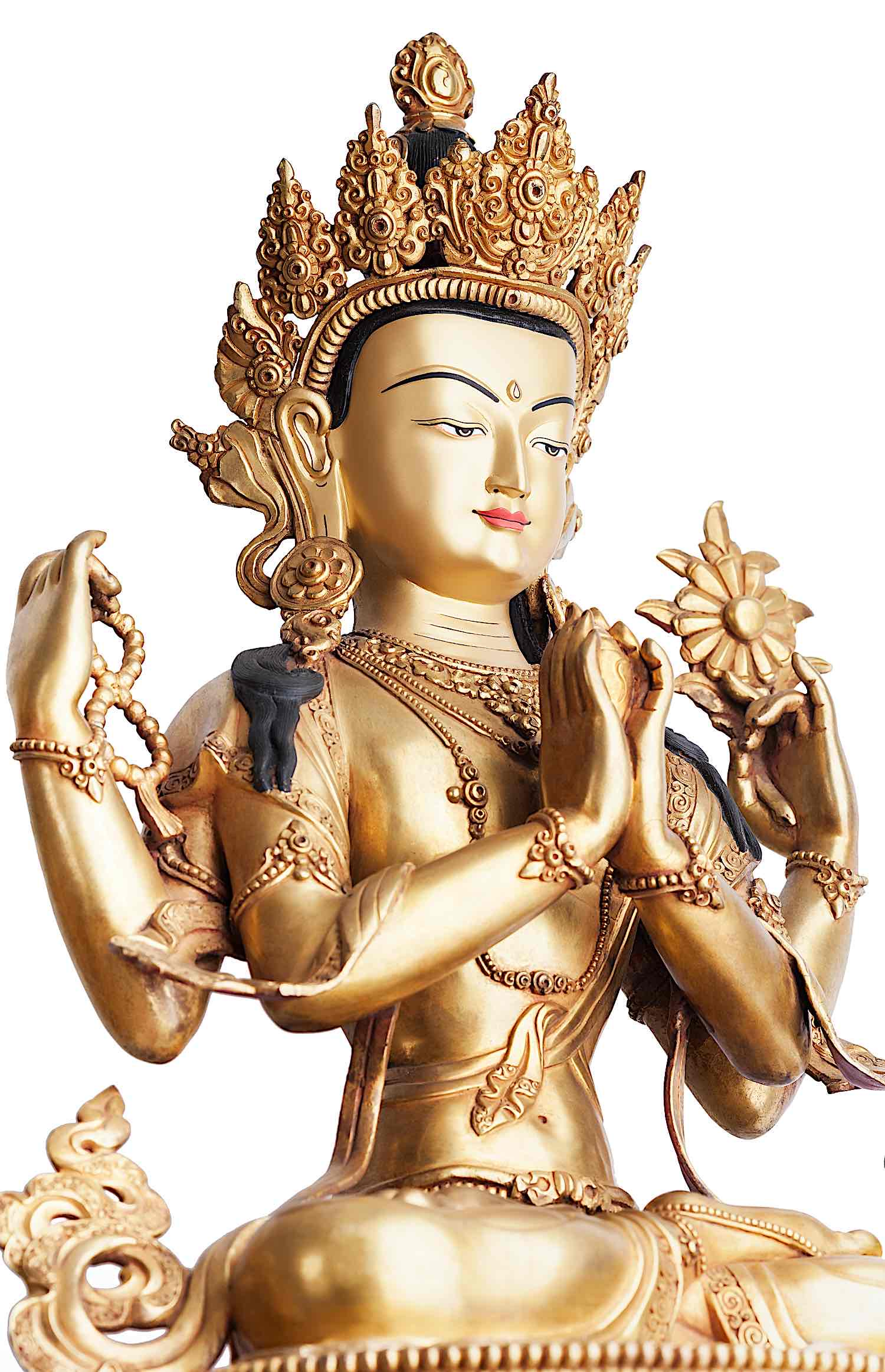 Buddha Weekly Four armed gilded statue of Chenrezig Tibetan dreamstime xxl 159537900 Buddhism