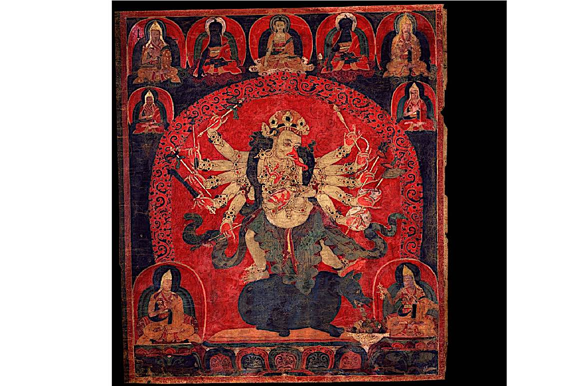 Buddha Weekly Ganapati with 12 hands red Buddhism