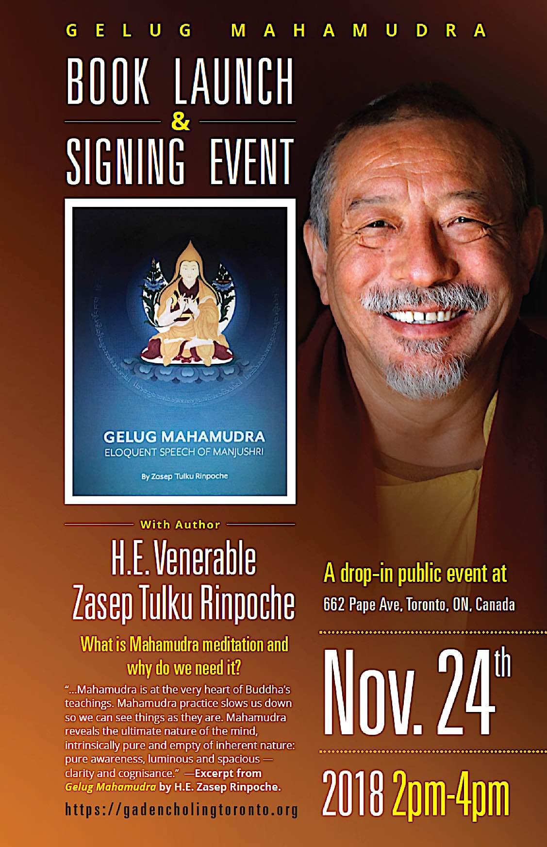 Buddha Weekly Gelug Mahamudra book signing and launch H E Zasep Rinpoche Gaden Choling Nov 24 Buddhism