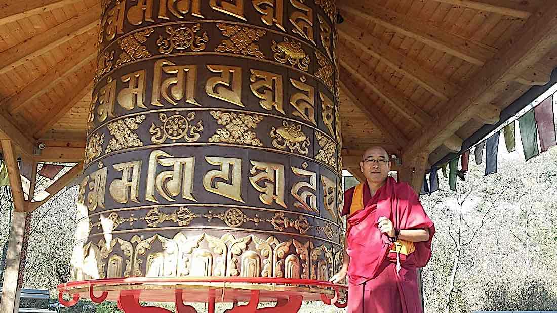 Buddha Weekly Geshe Sherab and giant prayer wheel Buddhism