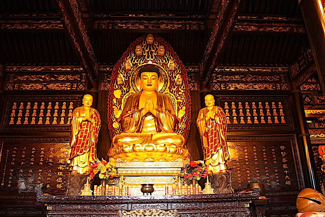 Buddha Weekly Golden Buddha Buddhist Temple of Big Wild Goose Pagoda in Xian city in China Buddhism