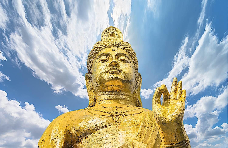 Buddha Weekly Golden Kishou Kanzeon Bodhisattva Kannon Bosatsu Diosa de la misericordia Enseñanza del budismo Mudra Dharmachakra
