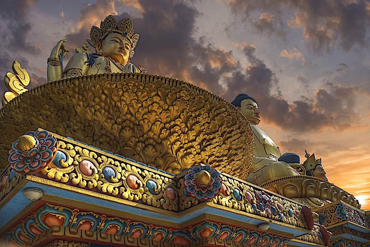 Buddha Weekly Golden Statue of Chenrezig with Buddha in Kathmandu Nepal dreamstime xxl 123160778 Buddhism