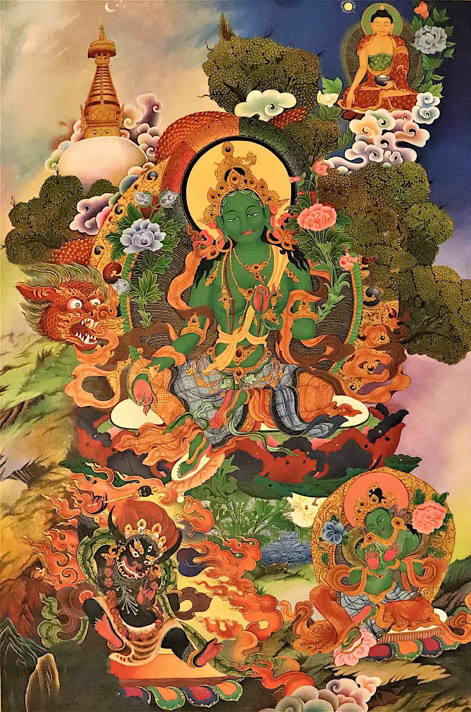 Buddha Weekly Green Tara Thangka Red Dragon Buddhism